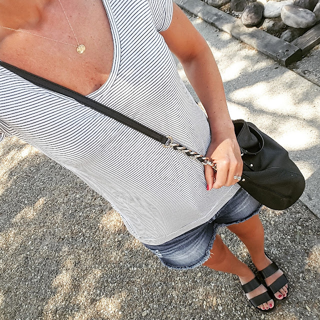 Gap Mini Stripe Roll Sleeve Tee // Kancun Cut Off Denim Shorts via Marshall's (similar) // Blowfish Supa Sandals - on sale for $30 (reg $50) // Kate Spade Pine Street Kori Handbag