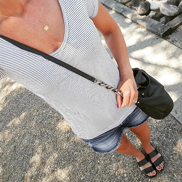 Gap Mini Stripe Roll Sleeve Tee // Kancun Cut Off Denim Shorts via Marshall's (similar) // Blowfish Supa Sandals - on sale for $30 (reg $50) // Kate Spade Pine Street Kori Handbag