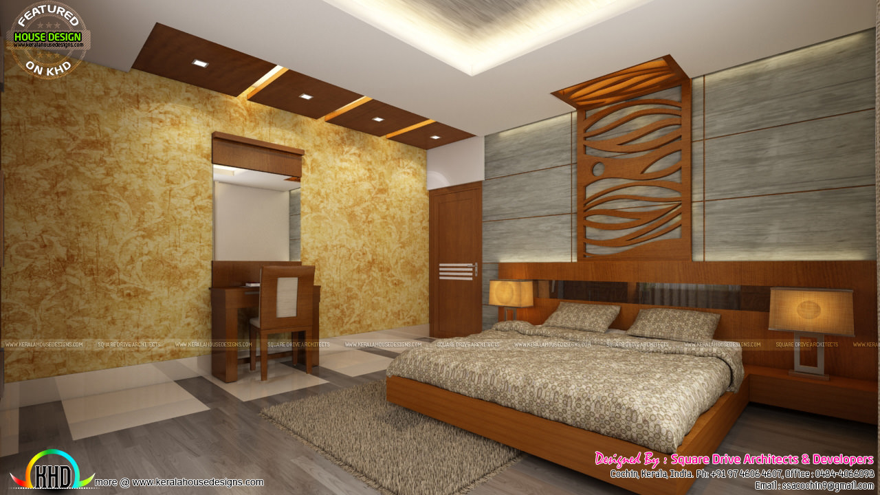 Living room ladies sitting and bedroom interiors kerala for Kerala homes interior designs