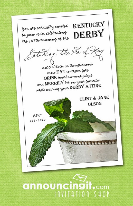 Mint Julep Kentucky Derby Party Invitations from Announcingit.com