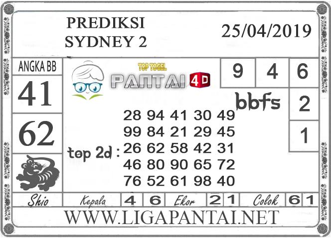 """Prediksi Togel """"SYDNEY 2"""" PANTAI4D 25 APRIL 2019"""