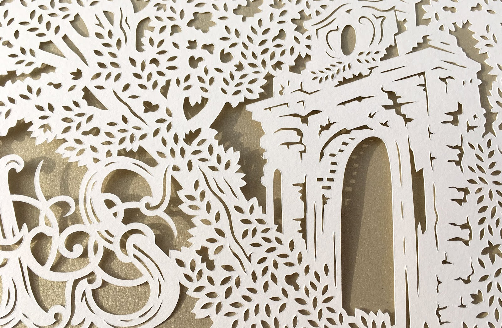 Handmade papercut wedding art; a papercut ketubah made to enshrine the couple's wedding vows to each other as a wedding gift.