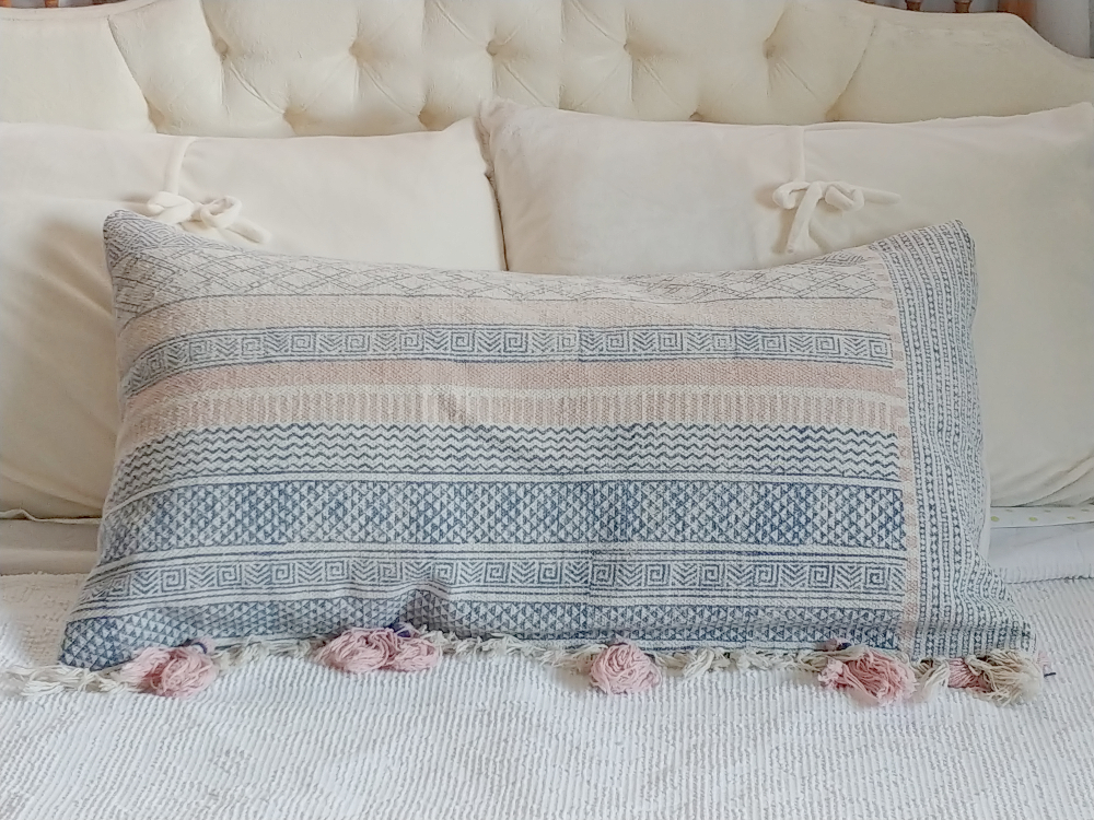 pillow made from an upcycled rug