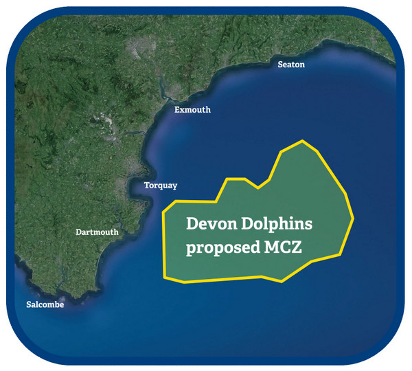 Photo showing area of 'Devon Dolphins' proposed MCZ ('official' name of MCZ likely  to be Lyme Bay Deeps.)