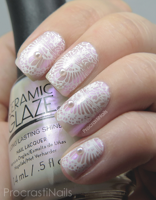 Bridal stamping nail art with Ceramic Glaze Heavenly