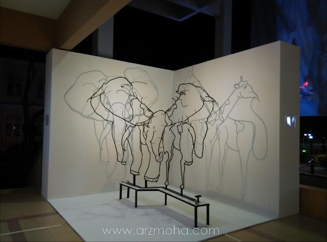 pameran seni sempena georgetown festival di dewan sri pinang, gajah atau zirafah, pameran seni, kreatif, arca,