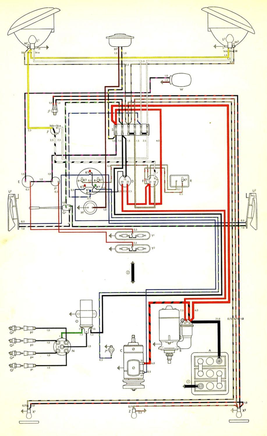 vw bus wiring diagrams wiring diagram rows 1972 vw bus wiring diagram vw bus regulator wiring [ 917 x 1499 Pixel ]