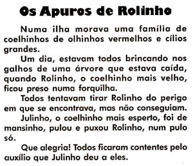Texto OS APUROS DE ROLINHO