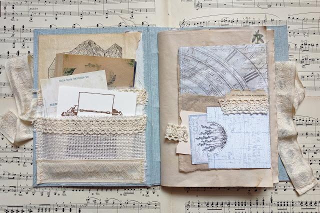 Junk journal z tkaniną i koronką