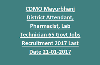 CDMO Mayurbhanj District Attendant, Pharmacist, Lab Technician 65 Govt Jobs Recruitment 2017 Last Date 20-01-2017