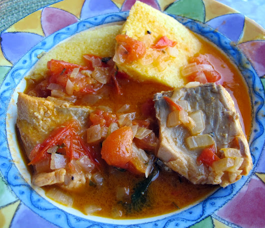 "Fish ""Brodet"" (Croatian Fish Stew) with Polenta"
