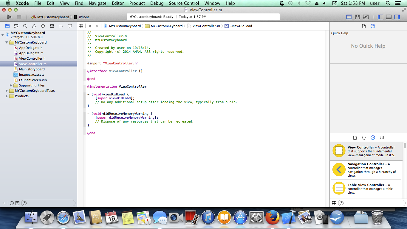 Xcode project workspace