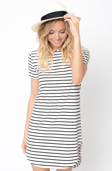 Buy Black Striped Curved Hem tee dress online caralase