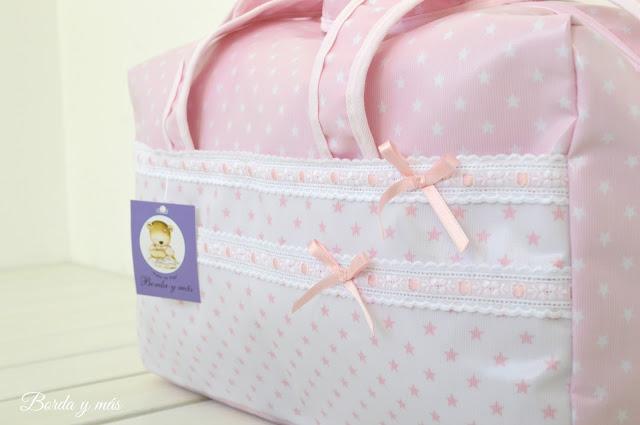 maternidad bebé estrellas rosa blanco