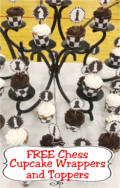 Turn regular cupcakes into a game of chess with these printable cupcake wrappers and cupcake toppers perfect for your next game night party dessert table. #chess #cupcake #cupcaketopper #printableparty #diypartymom #gamenight