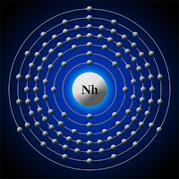 Nihonyum atomu ve elektronları