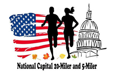 logo for the National Capital 20-miler featuring two black figures, a man and a woman, jogging with an American flag and a drawing of the Capitol building in the background