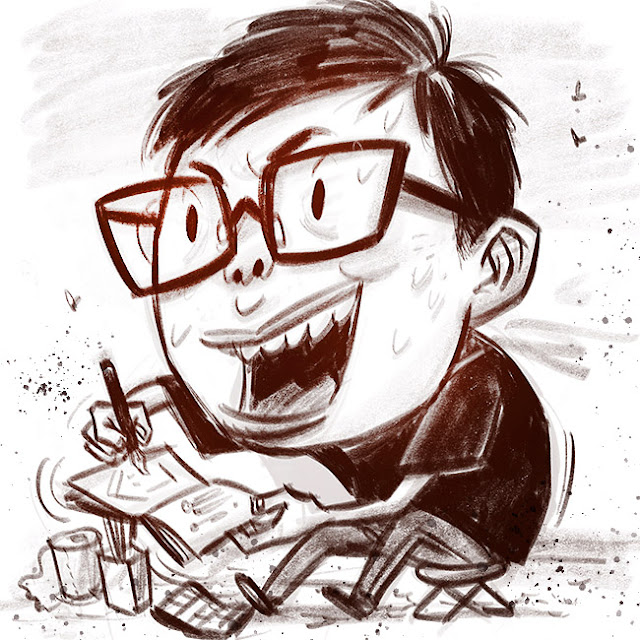 Don Low's Self portrait in cartoon caricature style