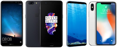Honor 9i OnePlus 5 Samsung S8+ and iPhone X