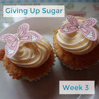 Two cupcakes on a plate with white frosting and butterfly decoration.