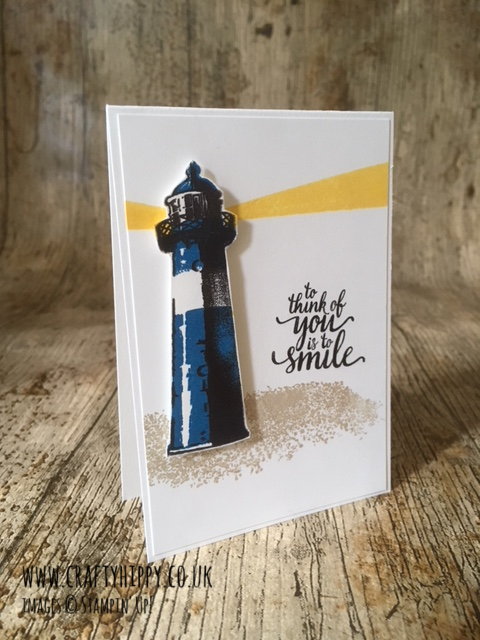 This image shows a lighthouse themed handmade card, made using the High Tide stamp set from Stampin' Up! and some Daffodil Delight ink from Stampin' Up!