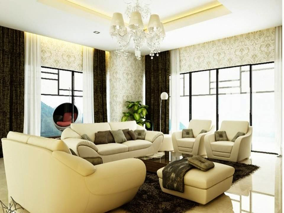 Living Room Design Ideas In Brown And Beige: Pretty Brown And Beige Living Room