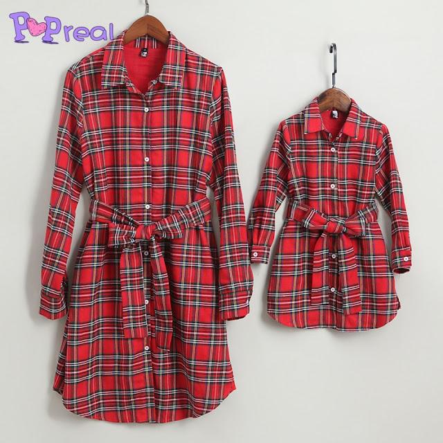 Mom Girl Plaid Self Tie Shirt Dress