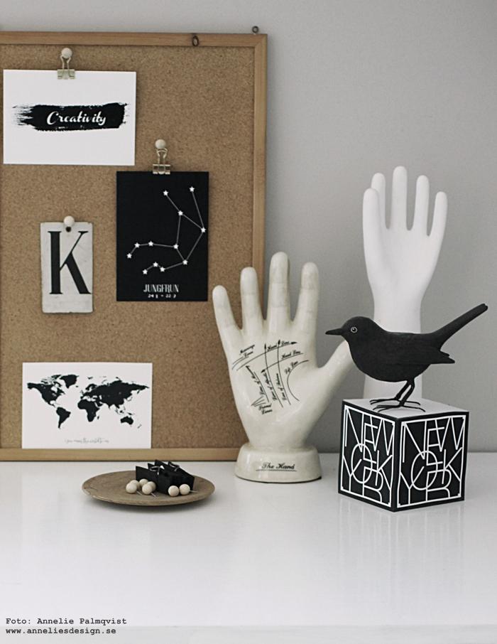 annelies design, webbutik, inredning, vitt,  vykort, stjärntecken, svartvit, svartvita, svart och vitt, konsttryck, tavlor, kork, pins, pin, trä, trären, trärena, trärent, koltrast, memoblock, städer, new york, världskarta, karta, med text, hand, händer, spålinjer, phrenology