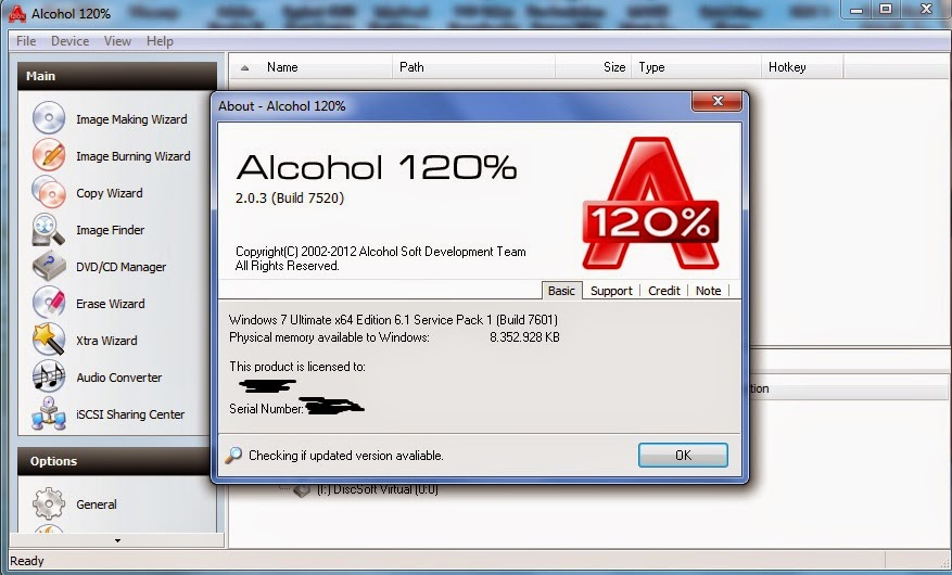 serial de alcohol 120 para windows 7