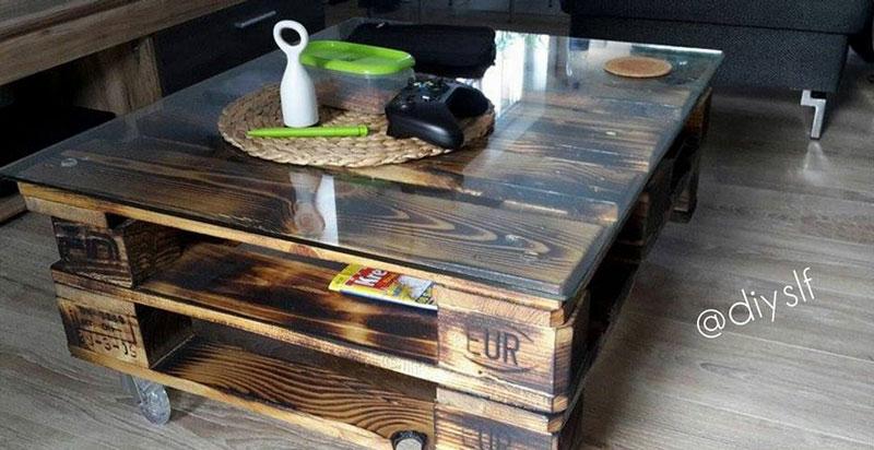 mesita de caf de palets. Black Bedroom Furniture Sets. Home Design Ideas