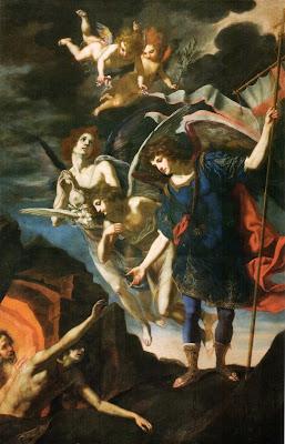 San Miguel Arcangel y los Angeles Ayudando a las Almas del Pirgatorio