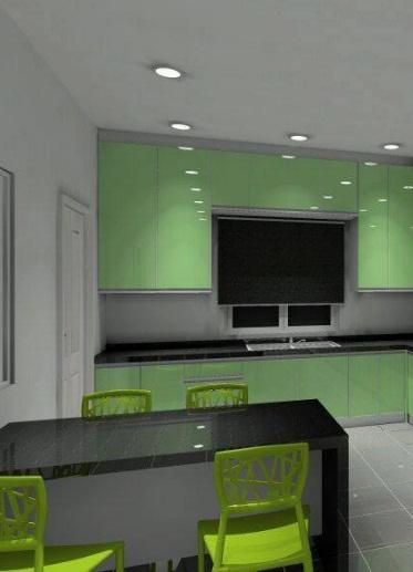 gunakan warna pastel pada kabinet dapur, warna dapur hijau