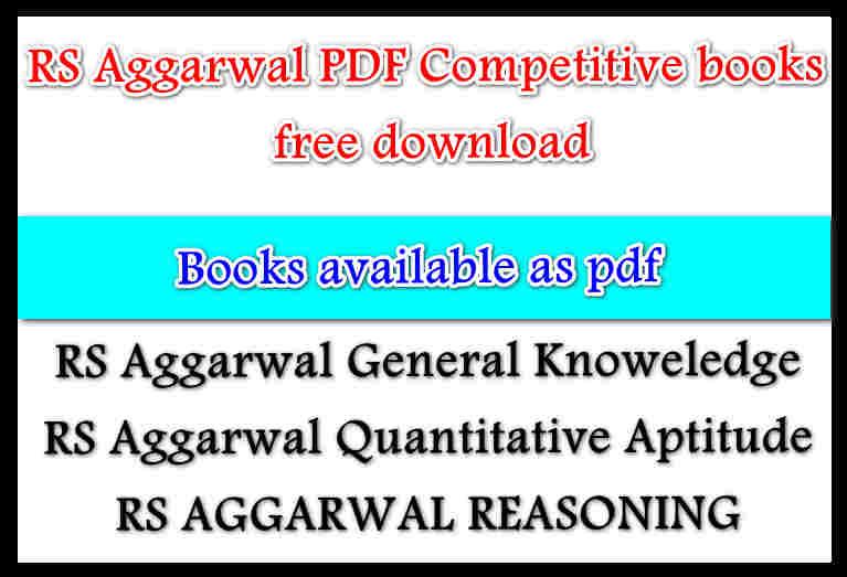 RS Aggarwal PDF books free download - EStudy Spot
