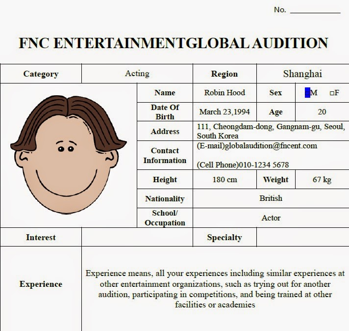 FNC GTC  How to apply the FNC GLOBAL AUDITION ? Come and have a look! - audition form