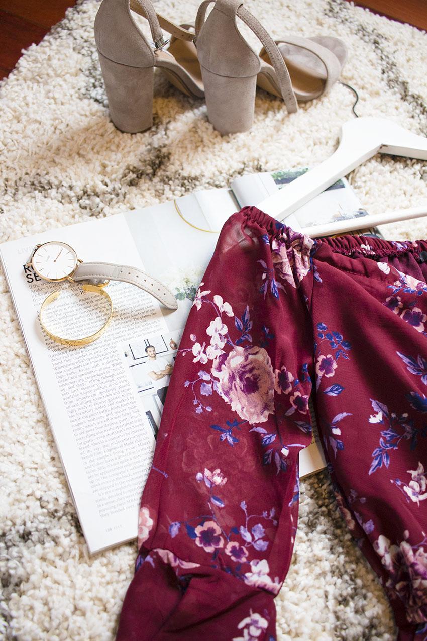 Burgundy Floral Off the Shoulder Romper Cluse Watch Pieces of Me Dreamer Cuff Bracelet