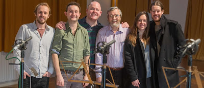 Johnny Herford, William Vann, Nicky Spence, Mary Bevan, Thomas Gould with John Francis of the RVW Society at the recording sessions for Purer then Pearl