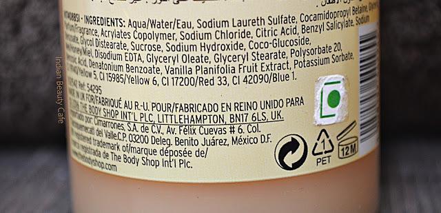 The Body Shop Vanilla Chai Shower Gel Ingredients