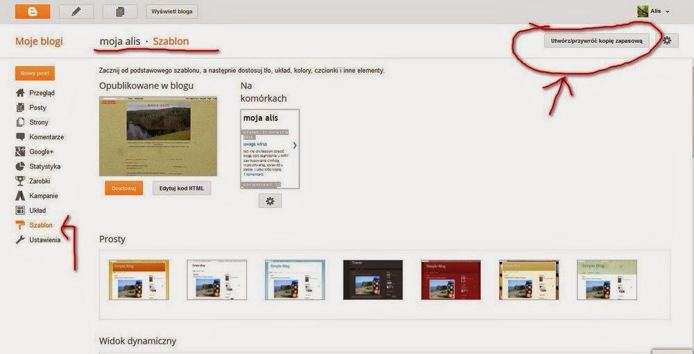 jak przygotować kopię zapasową bloga, blogger