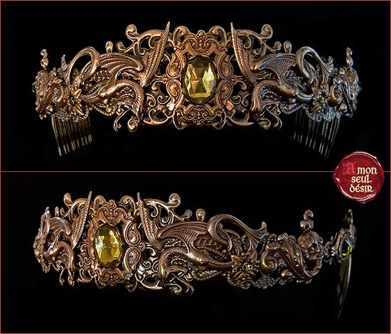 couronne bronze serpent conte légende fée mélusine vouivre médiéval renaissance bijoux vert olive