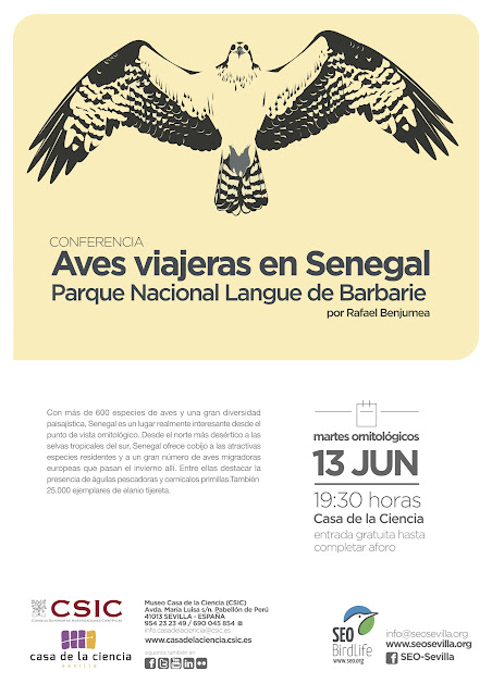 Conferencia: Aves viajeras en Senegal. Parque Nacional Langue de Barbarie. Por Rafael Benjumea, 13 de Junio 2017. Grupo Local SEO-Sevilla.