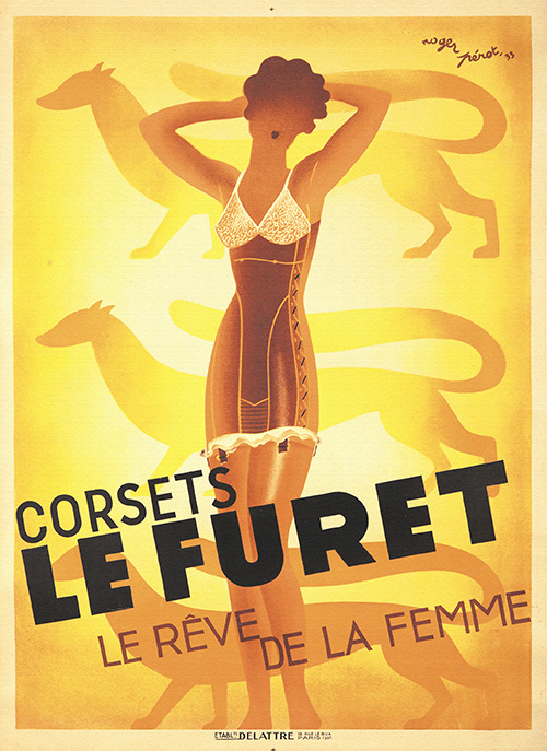 Corsets Le Furet by Roger Perot - Vintage French Lingerie Poster, advertising, classic posters, free download, free posters, free printable, french poster, graphic design, printables, retro prints, vintage, vintage posters, vintage printables