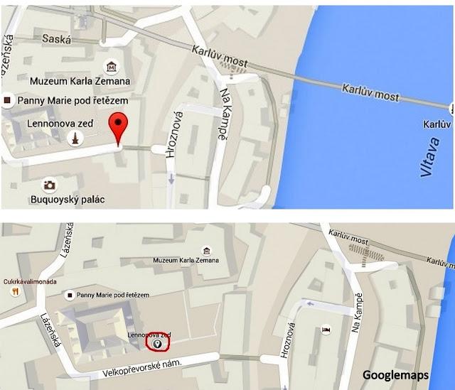 Mapa: como chegar ao Muro Lennon, em Praga
