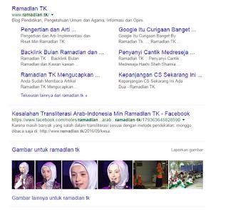 Keren! Blog Ramadlan TK Dapat Sitelink Google