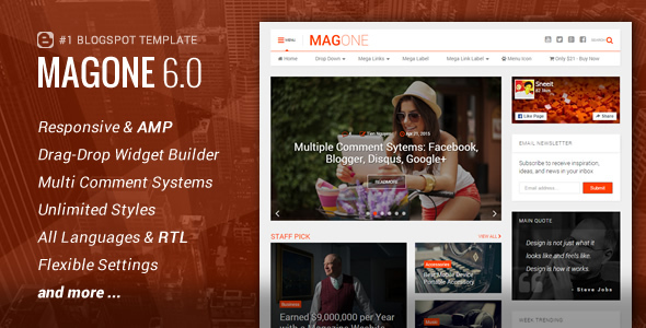 MagOne v6.7.5 Responsive News & Magazine Blogger Template