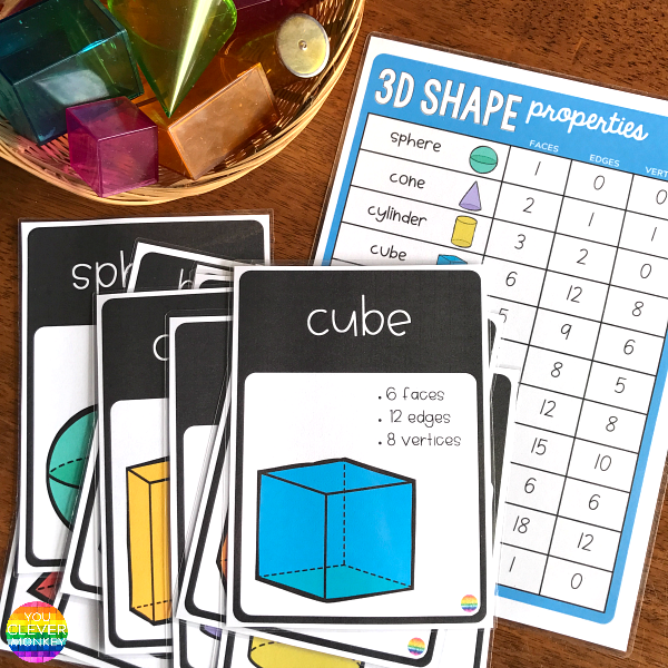 3D Shape Poster and Word Wall Cards | you clever monkey
