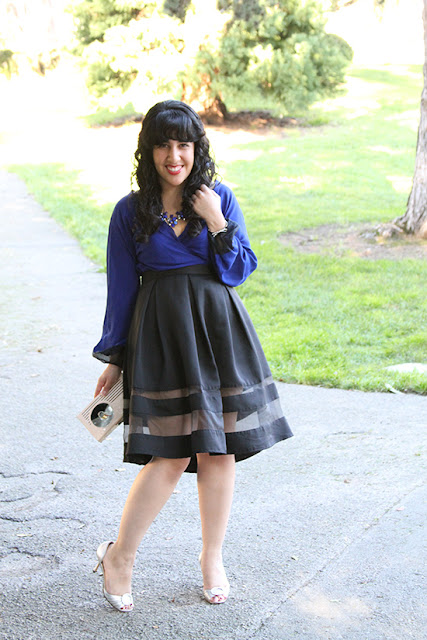Blue DVF Wrap Blouse Express Black Midi Skirt Birthday Outfit | Will Bake for Shoes