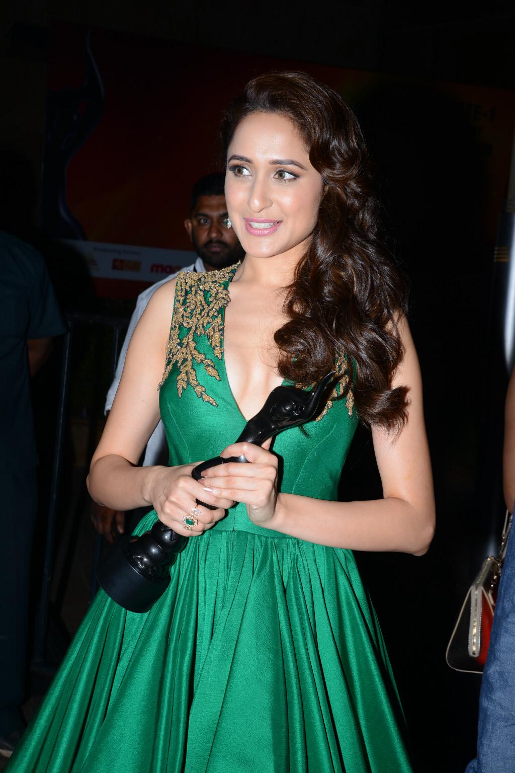 Pragya Jaiswal Photos at Filmfare Awards In Green Gown