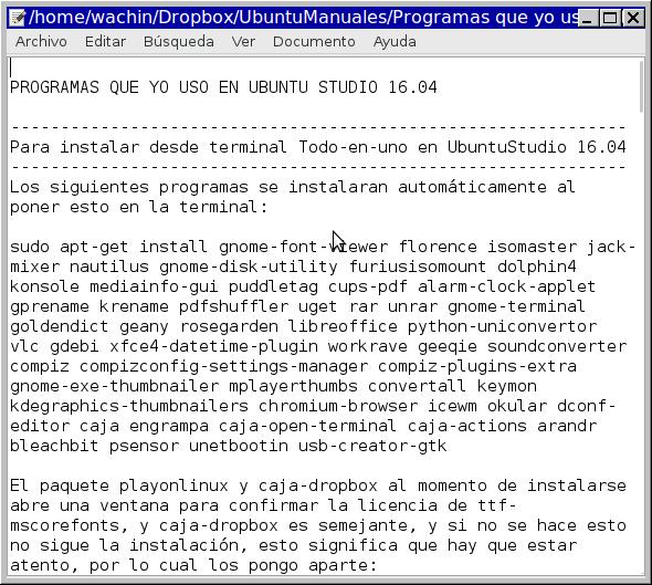 Programas y PPA que Wachín usa en UbuntuStudio 16.04