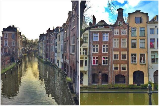 Canales y casas en el centro histórico de Utrecht