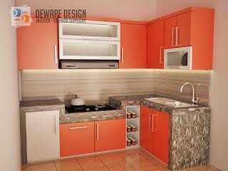 kitchen set desain minimalis berwarna orange